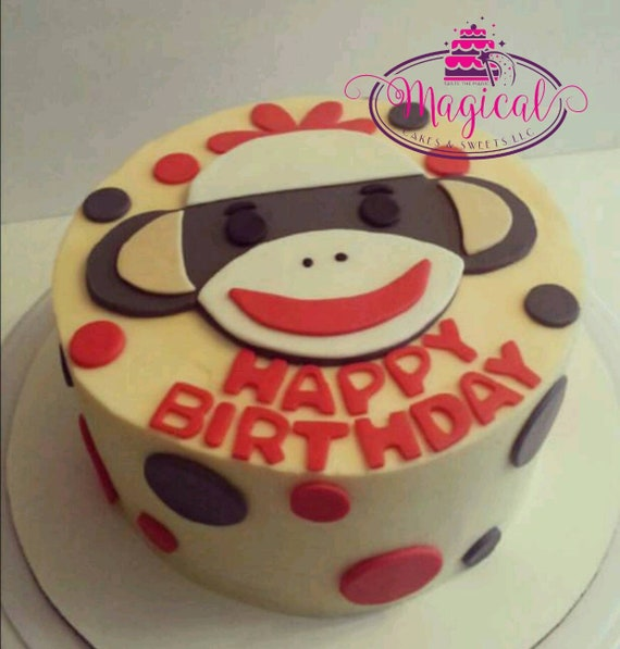 Surprising Sock Monkey Cake Toppers Etsy Funny Birthday Cards Online Barepcheapnameinfo