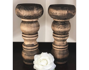 Large Wooden Candle Stands (set of 2)