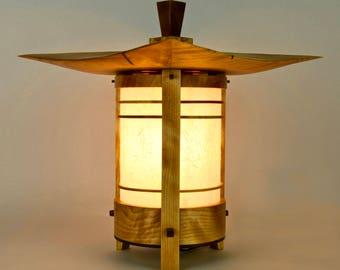 "Japanese Lamp / Lantern In Birch and Black Walnut -""Yamadera"" (Mountain Shrine)"