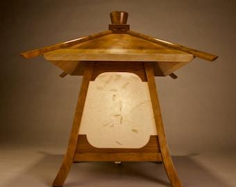 "Japanese Lamp / Lantern In Cherry Wood -""Kodama"" (Forest Spirit)"