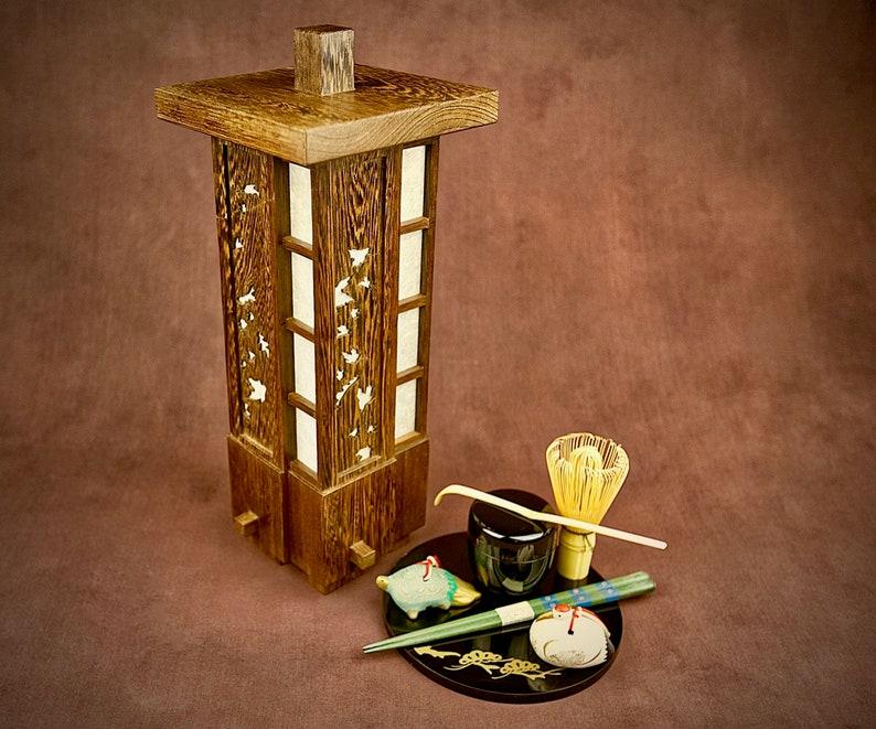 Japanese Lamp Lantern In Wenge Rakuyō Falling Etsy