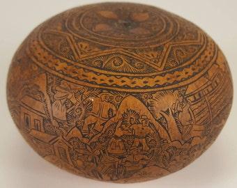 Vintage Signed Claudio Seguil Etched Gourd Pumpkin Folk Art From Peru Hand Carved Designs