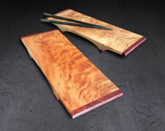 Incredible Grain Pattern, Curly Maple and Brazilian Cherry. One-of-a-kind sushi trays.
