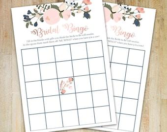 Bridal Bingo Printable - Bridal Shower Game   Bingo Sheet   Printable   Digital Download   Peonies