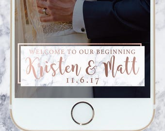 Marble Rose Gold Wedding Filter - Custom | Snapchat Filter | Geofilter | Welcome to Our Beginning
