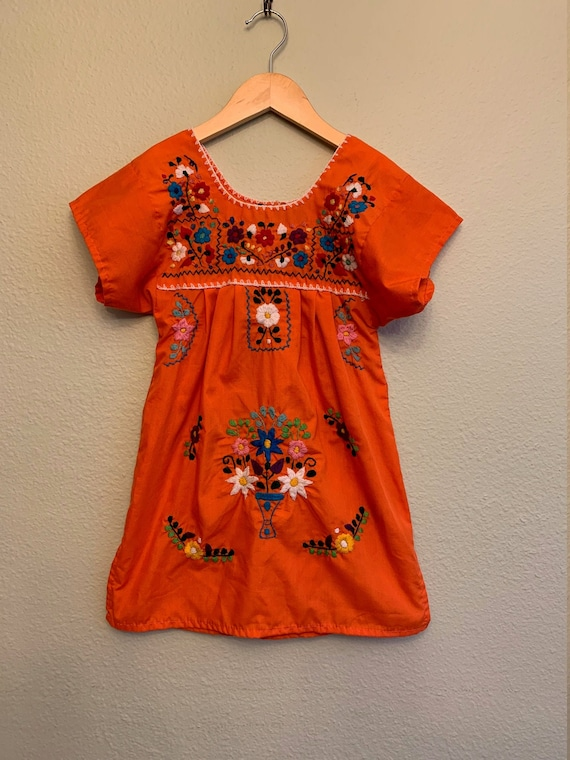 Girl's Mexican Dress Puebla Canary!