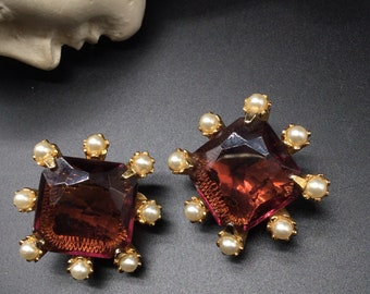 Vintage 1980s Mogul Faux-Gripoix Lucite Brooch Pin Earrings Demi