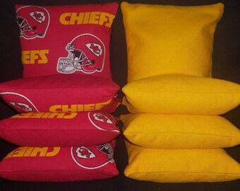 Set Of 8 Kansas City Chiefs Cornhole Bean Bags Top Quality FREE SHIPPING