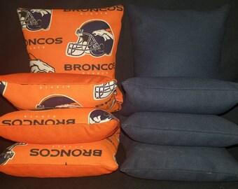 Set Of 8 Denver Broncos Cornhole Bean Bags Top Quality FREE SHIPPING