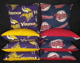 Set Of 8 Minnesota Vikings Twins Cornhole Bean Bags Top Quality FREE SHIPPING