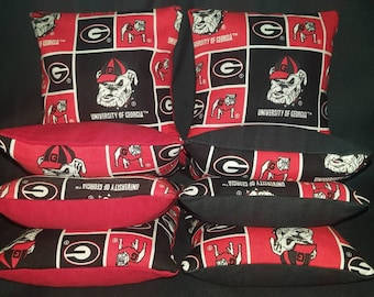 Set Of 8 Georgia University Bulldogs Cornhole Bean Bags Top Quality FREE SHIPPING