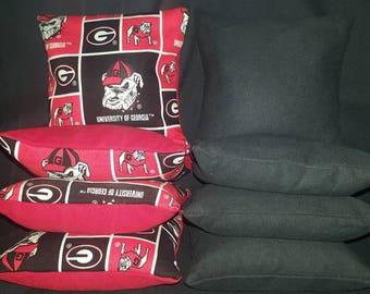 Set Of 8 University of Georgia Cornhole Bean Bags Top Quality FREE SHIPPING