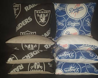 Set of 8 Raiders Dodgers Cornhole Bean Bags Top Quality FREE SHIPPING