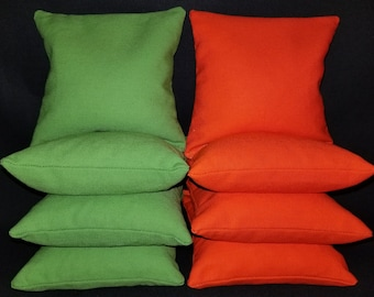 Set Of 8 Orange and Lime Cornhole Bean Bags Top Quality FREE SHIPPING