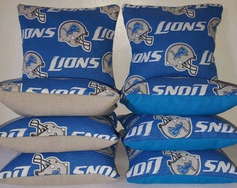 Set Of 8 Detroit Lions Cornhole Bean Bags Top Quality FREE SHIPPING