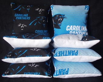 Set Of 8 Carolina Panthers Stop And Go Cornhole Bean Bags Top Quality FREE SHIPPING
