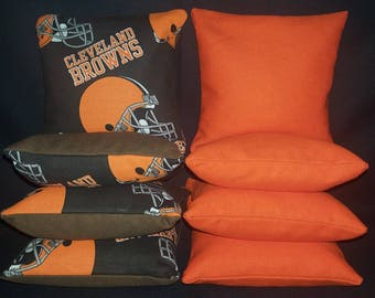 Set Of 8 Cleveland Browns Cornhole Bean Bags Top Quality FREE SHIPPING