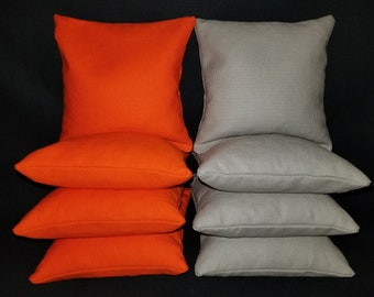 Set Of 8 Orange and Gray Cornhole Bean Bags Top Quality FREE SHIPPING
