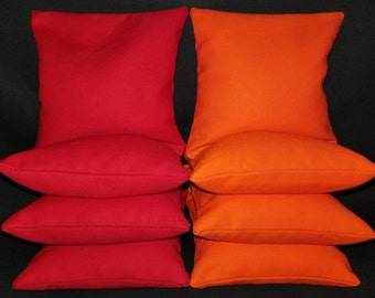 Set Of 8 Orange and Red Cornhole Bean Bags Top Quality FREE SHIPPING