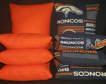 Set Of 8 Denver Broncos Cornhole Bean Bags Top Quality FREE SHIPPING