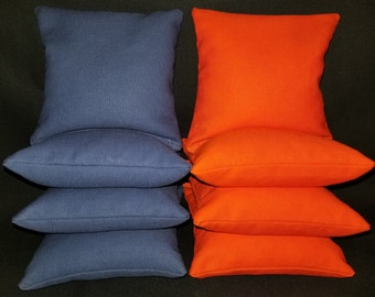 Set Of 8 Orange and Royal Cornhole Bean Bags Top Quality FREE SHIPPING