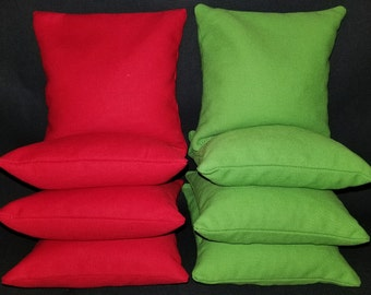 Set Of 8 Red and Lime Cornhole Bean Bags Top Quality FREE SHIPPING