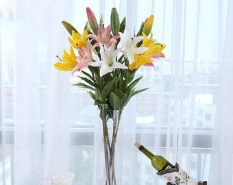 et of 3-Nearly natural real touch Artificial Tiger Lilies Flowers