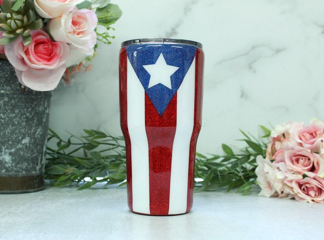 be1b84247f2b Puerto Rican Flag Glitter Travel Mug, Puerto Rico Pride Glitter Tumbler,  Flag Mug, Puerto Rico Flag