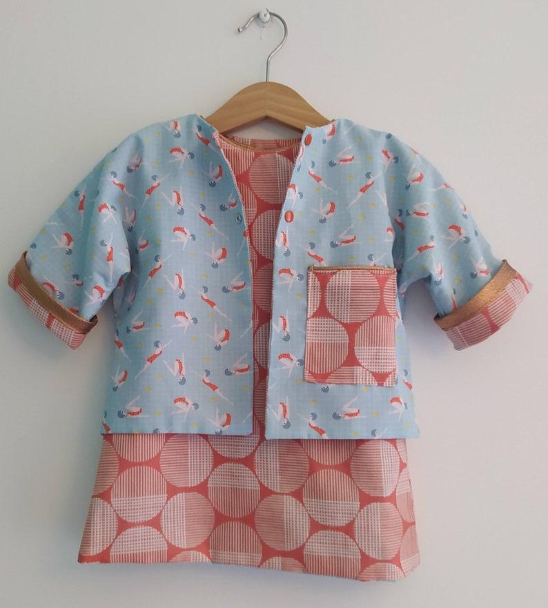 Alba 60/'s blue and orange print reversible baby dress