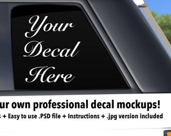 Car decal SUV side mockup template  Photoshop  PSD  png  jpg file