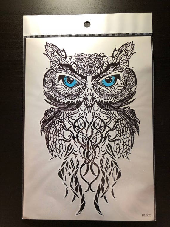 Large Temporary Tattoo Tribal Owl High Quality Temporary Etsy