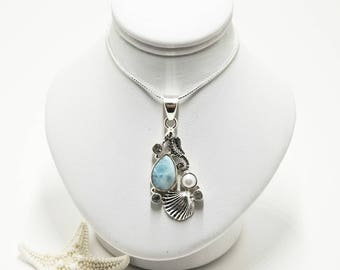 Sterling Silver Larimar, Blue Topaz and Freshwater Pearl Seahorse Necklace
