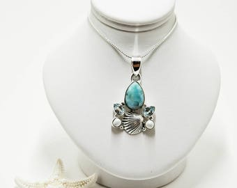 Sterling Silver Larimar, Blue Topaz and Freshwater Pearl Seashell Necklace