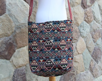 Unique Colorful Triangle Hippie Crossbody Bag     Hobo Bag  Geometric Womens  Sling Bag   Fabric Cross body bag    Vegan Crossbody bag