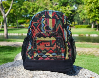 Hipster Elements on Chevrons Print Design Backpack and Pencil Case Set
