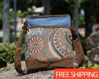 2ff13a414e Womens Boho Crossbody purse tapestry gold hues - Crossbody Hippie Bag