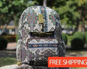 dbed7a8b85f0f5 Mayan Aztec Tribal Mens Backpack - Fabric Men s Rucksack