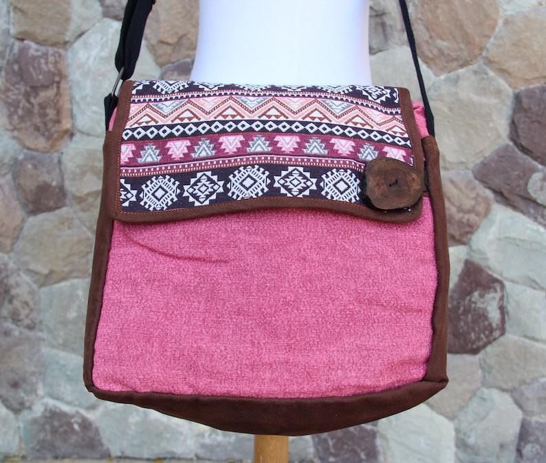 Womens Satchel bag,School book bag, Hobo bag Purse for an Ipad Cotton  Messenger Bag Aztec Geometry Tribal Style