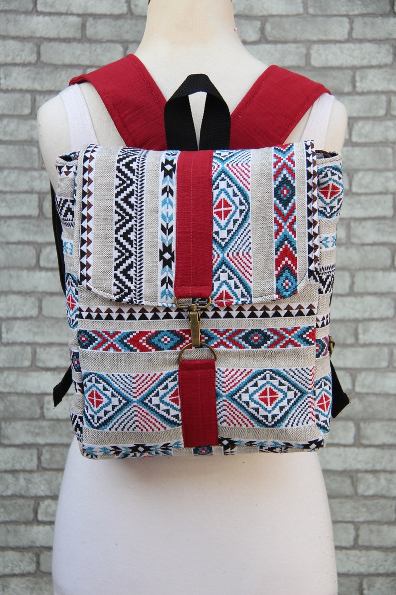 Small Backpack womens Square Backpack Purse Native Southwest style Native American Style Rucksack Purse,Back to School Kids Backpack