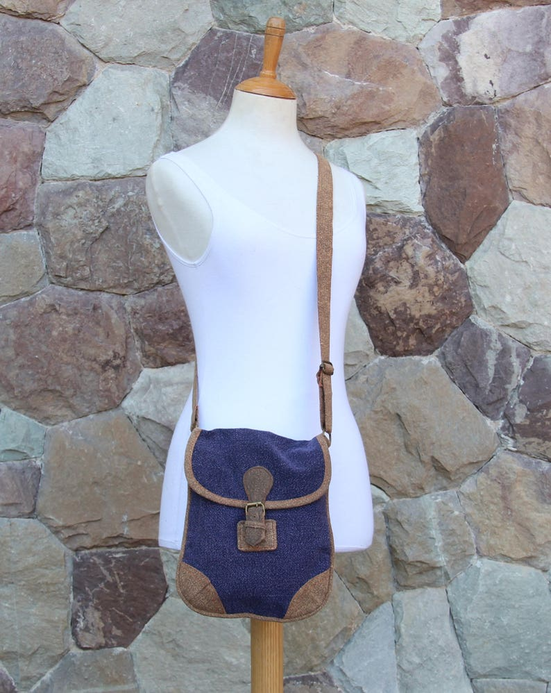 Vegan Satchel Purse Bag Purple Hue - Unisex Crossbody Purse,Cotton  Minimalist Shoulder bag, Handmade Shoulder Purse