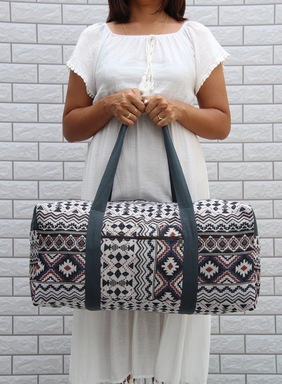Hipster Elements on Chevrons Print Design Weekender Bag