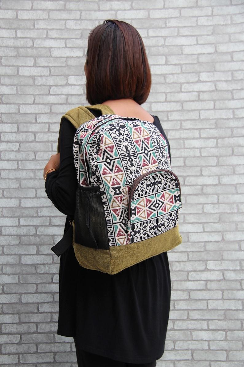 Zippered Overnight bag Unisex Medium backpack,College Rucksack Girls Backpack Purse School Backpack Olive Green Cotton Boho Tribal Style