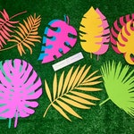Extra large tropical paper leaves + palms - 12 pack