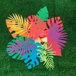 Tropical paper leaves + palms - medium 12 pack