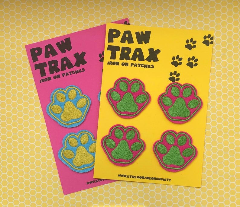 Bright Paw Print Iron On Patches image 0