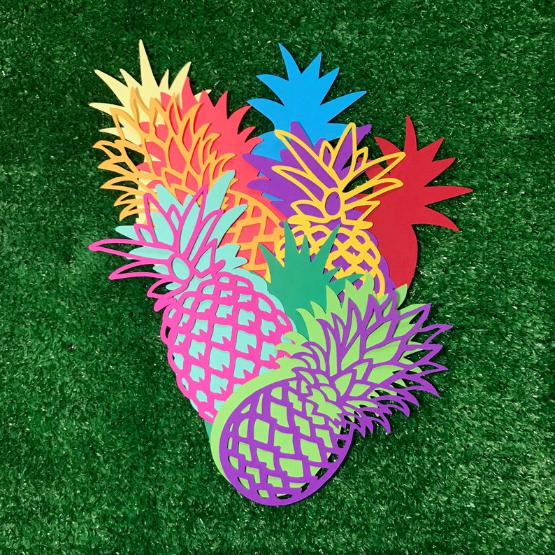 Tropical paper pineapple cutouts  12 pack image 0