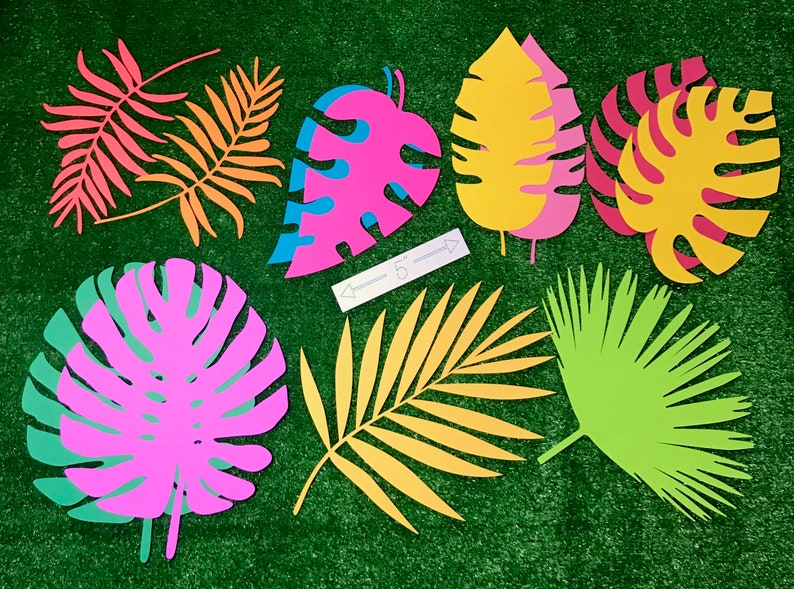 Large tropical paper leaves tropical leaf cutouts safari image 0