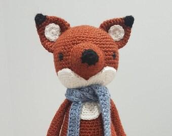 Crochet Toy Fox with Scarf 32cm