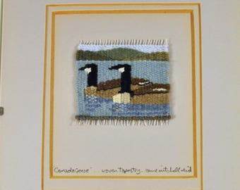 Anne Mitchell Reid Tiny Woven Tapestry Canada Geese, Framed, Ruadh Workshop