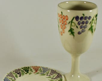 Efren Reveles pottery Jewish Goblet and plate? ( see notes )